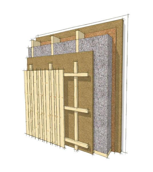 Wandaufbau vertikale Holzfassade