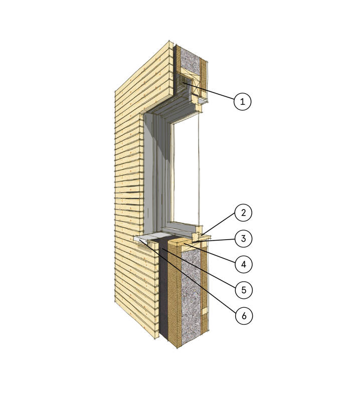 Wandaufbau Fensteranschluss Holzfassade