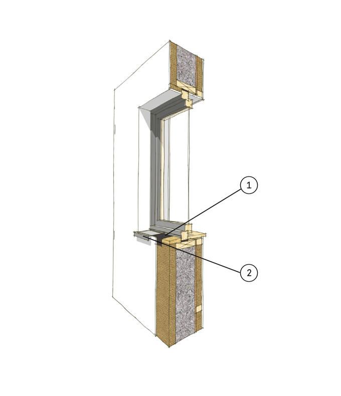 Wandaufbau Fensteranschluss Putzfassade